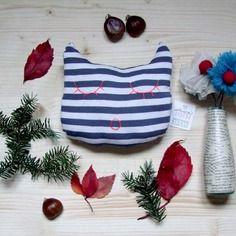 Decorazione in stoffa gatto a strisce blu - pezzo unico