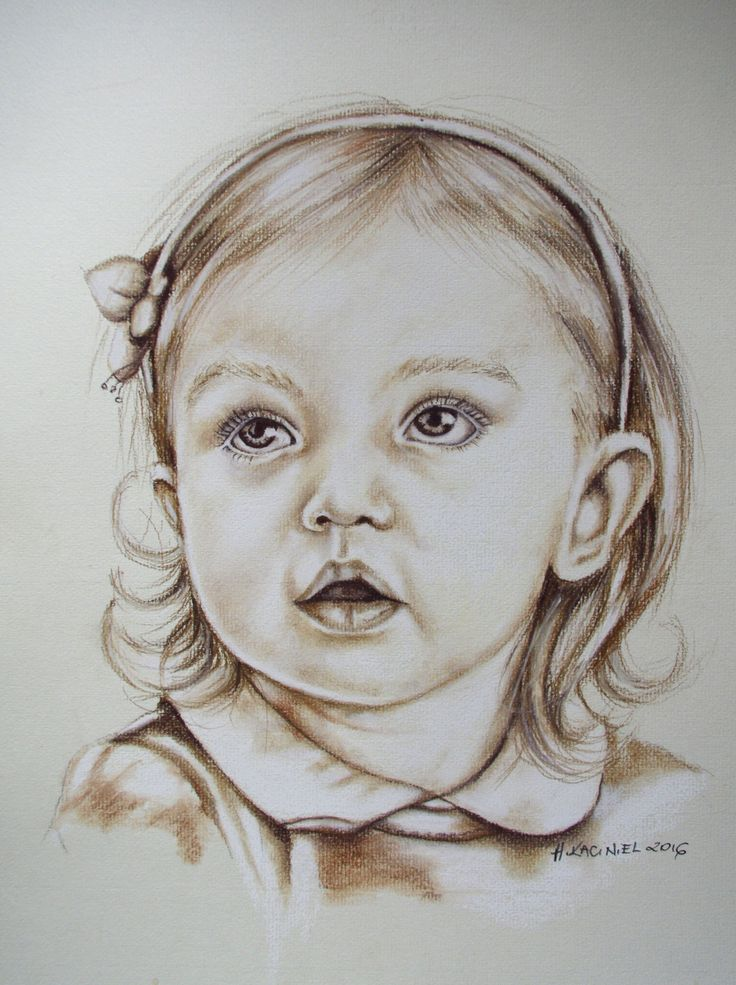 Portrait of wee Girl- sepia/soft pastel on paper. If you would like to commission a portrait contact me by email hannakacinielart@gmail.com , PM or visit my website www.hannakaciniel.com