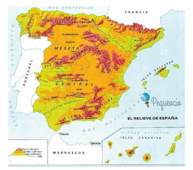Mapa Fisico De España Para Imprimir En A4.Pin En Geografia Fisica 03