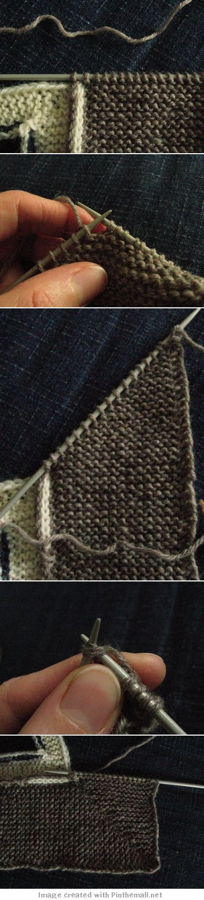 #Knitting #Tutorial - How to Knit a Mitered Band. Really useful for cardigan bands and for blankets. To read the instructions please click onthe blog URL listed under and to the left of the picture -- http://www.yesimadethat.blogspot.com Mitered corners in knitting are definitely worth learning :>)