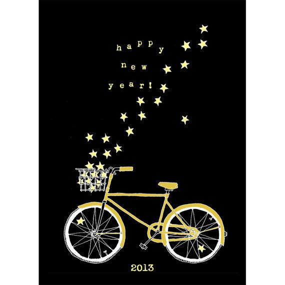 Bike and stars New Year's card - one of 9 great options on @Etsy (for us procrastinators!)