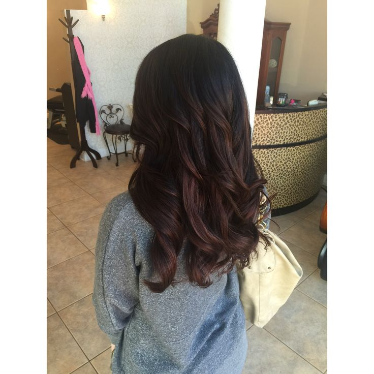 Dark Balayage. chocolate lowlights, long layers, soft big barrel curls, southern. Knoxville