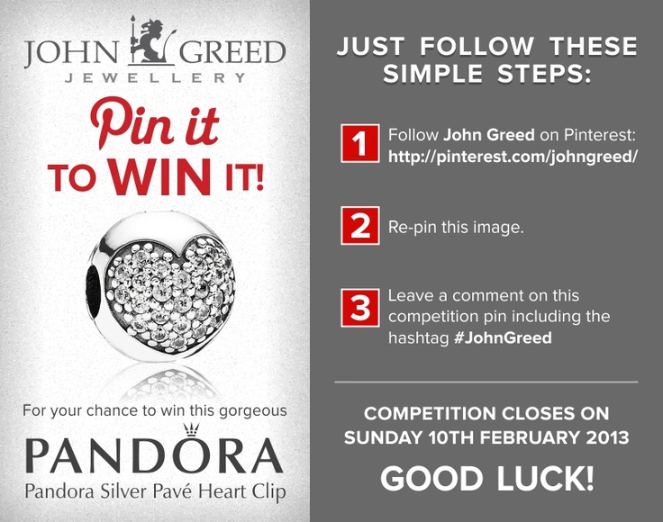 For your chance to win #JohnGreed #Competition goodies, simply follow the steps in the image. Closing date 10/02/2013. Important: Your twitter account must be linked to your Pinterest profile! Terms and Conditions: http://blog.johngreedjewellery.com/jewellery/competitions/2012/01/pinterested-in-winning-john-greed-goodies/