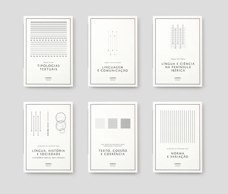 Cover design for CELGA book series. The approach relied on self-imposed restrictions that dictated that all illustrations used on the covers should be drawn using a very limited set of Indesign tools, thus creating images very close to the schemas used in the study of this discipline. The white color, adopted typography as well as the chosen textured paper for the covers, contributed to underline the idea of the rigorous clinical approach this field of study adopts when analysing language.