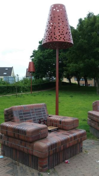 Steinerner Sessel im Mündungspark, Worringen - Foto: S. Hopp