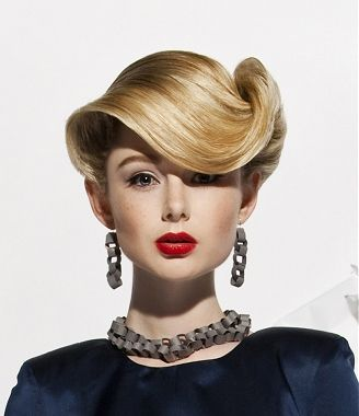 This would be amazing to try, I'm so curious about what the back looks like! medium blonde straight coloured sculptured updo Mature Movie hairstyles for women  Vintage hairstyles www.ukhairdressers.com
