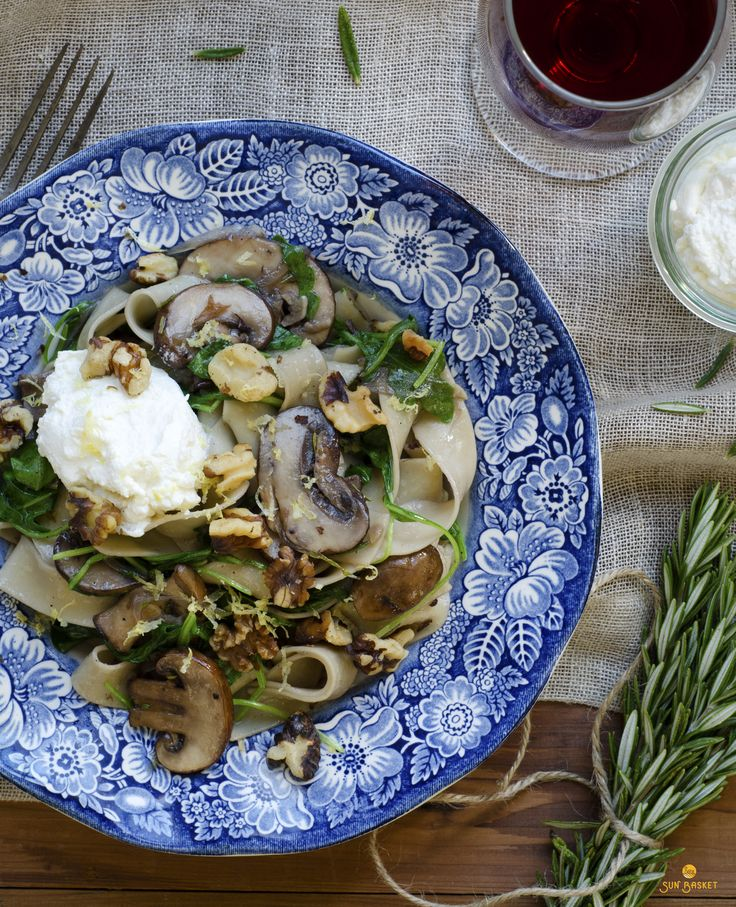 Pappardelle with mushrooms, ricotta, walnuts and rosemary #vegetarian #soyfree