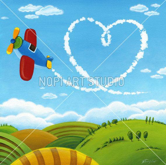 Kids Room Art Poster, Whimsical Landscape Digital Download, Plane Heart Love Painting, Children Wall Art Painting, Nursery Printable Art by NopiArtStudio on Etsy