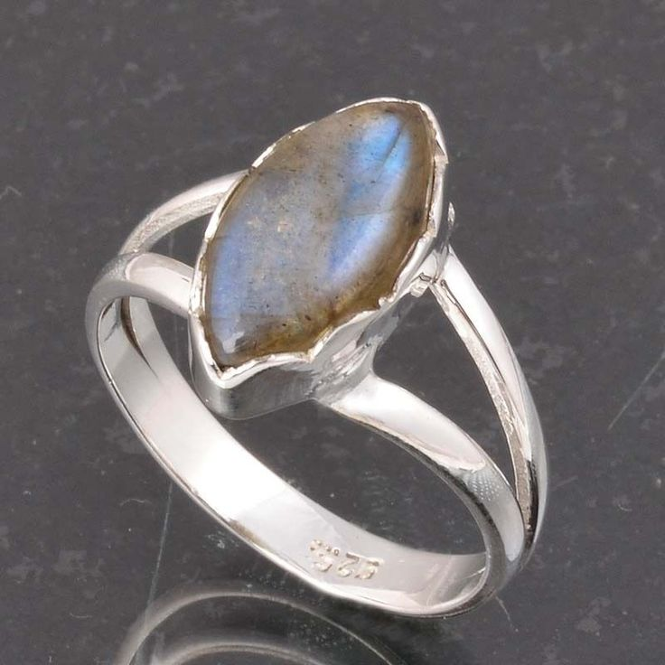 BLUE FIRE LABRADORITE 925 SOLID STERLING SILVER FASHION RING 3.52g DJR6403 #Handmade #Ring