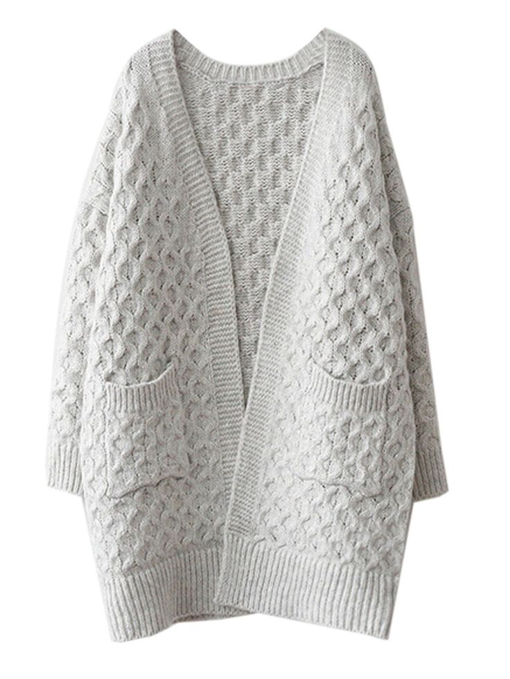 . . Light Gray V-neck Cable Knit Pocket Chunky Cardigan | Choies . .