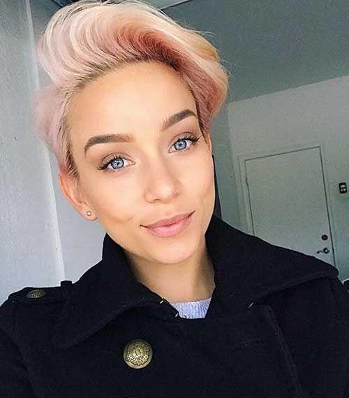 Cuts short blonde buzzed pixie