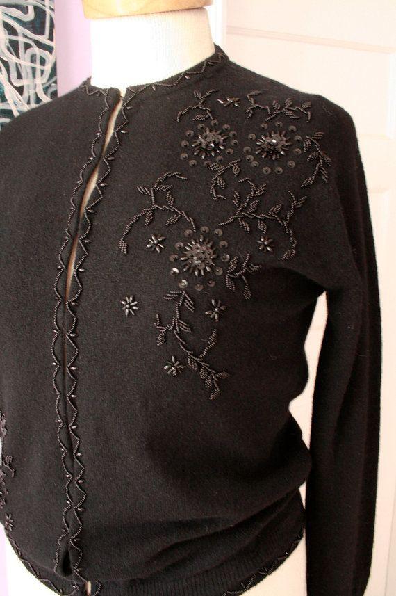 Vintage 1950s black wool cashmere beaded cardigan by niceliving, $60.00