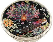 Mother of Pearl Makeup Mirror peacock Design Cosmetic mirror Handbag Purse handheld Compact hand pocket Mirror