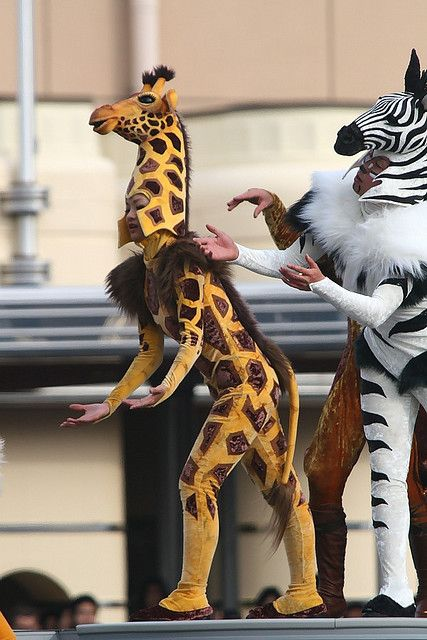 zebra and giraffe costumes and mask heads. Adult animals. img_4376n by frankkrenz, via Flickr