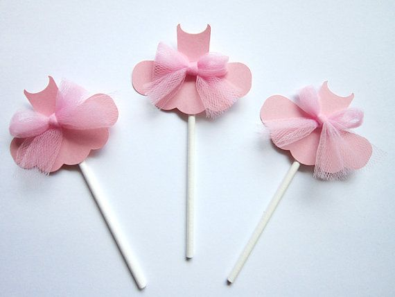 Ballerina Cupcake Toppers  Set of 6 by CraftyCue on Etsy, $12.00