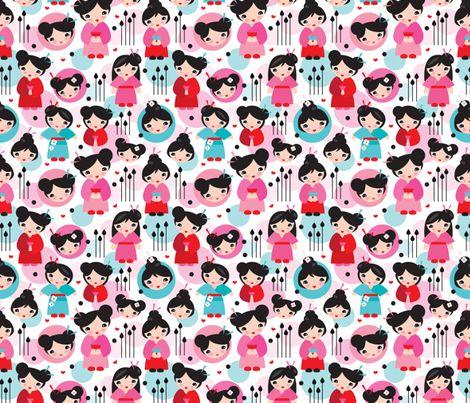 Geisha girls fabric by littlesmilemakers on Spoonflower - custom fabric