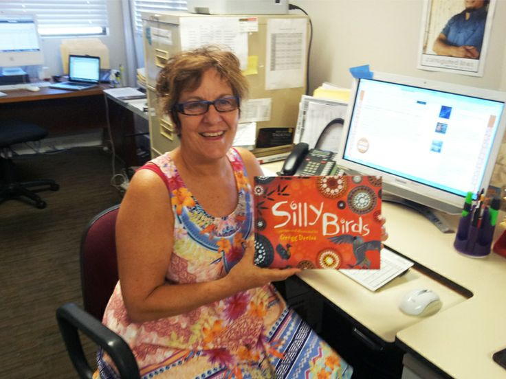 Sharon with advance copy of Silly Birds...