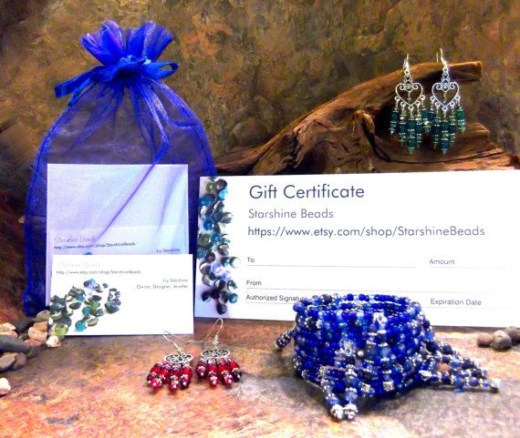 Gift Certificate - Jewelry, Gift Certificates, Gifts, Pendulums, Bookmarks, Bracelets, Earrings, Necklaces, Gift Ideas, Gifts for Her