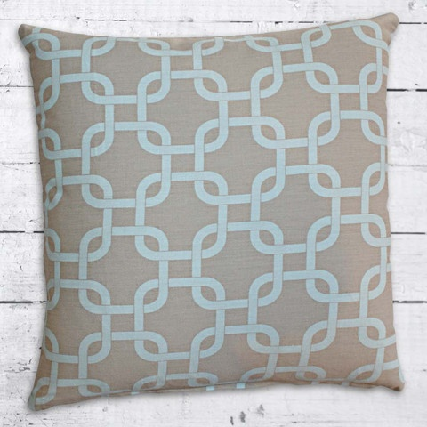 Cushions from Cushionopoly - Linked Powder blue and taupe. From the Beach House collection