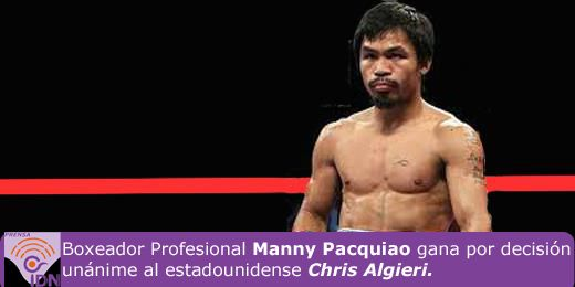 Manny Pacquiao gana por decisión unánime y retiene el titulo de campeón welter de la Organización Mundial de Boxeo.
