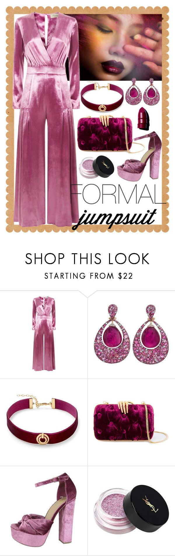 """""""Formal Jumpsuit - Rose"""" by giovanina-001 ❤ liked on Polyvore featuring Temperley London, Margot McKinney, Rebecca Minkoff, Benedetta Bruzziches, Speed Limit 98, Yves Saint Laurent, Anastasia Beverly Hills and jumpsuits"""