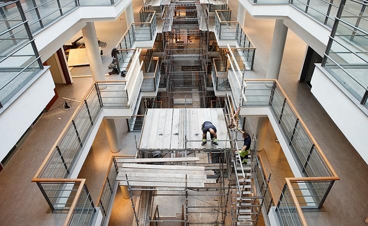 Bygge av kontorshus i Liljeholmen.