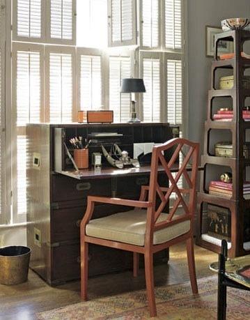Campaign desk (I also like the shelves in the corner).