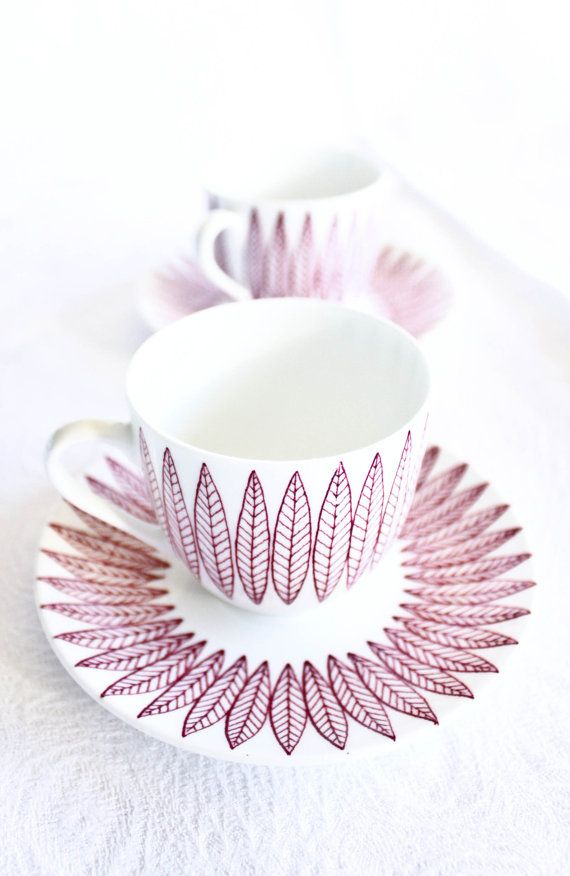 Salix cup and saucer by Stig Lindberg for Gustavsberg