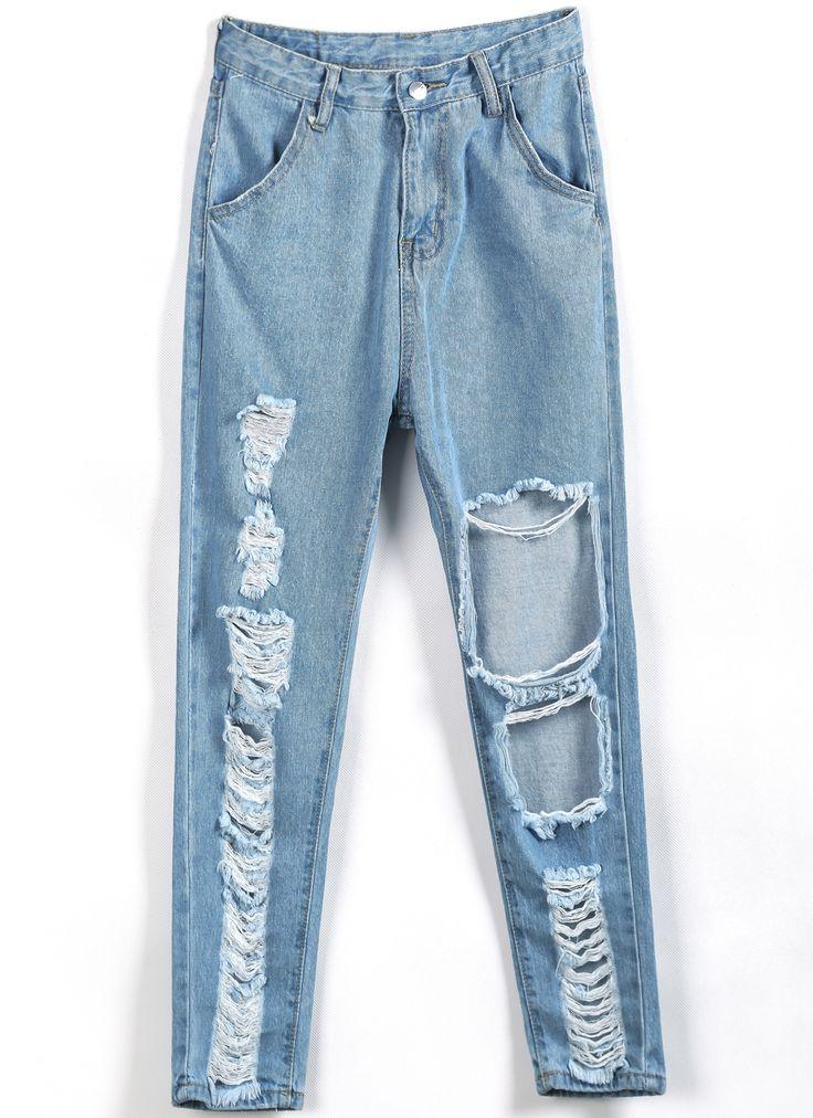 Blue Ripped Pockets Denim Pant - Sheinside.com