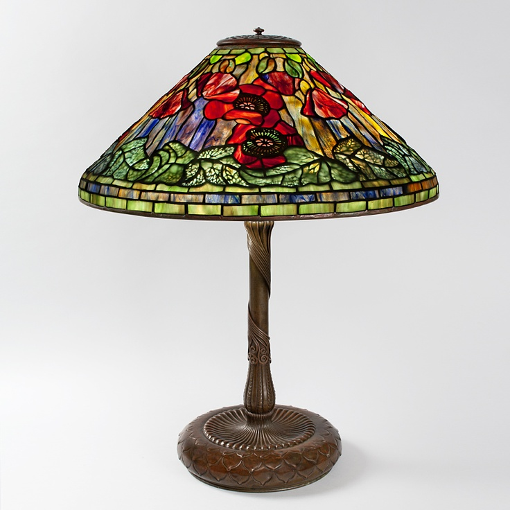 ... poppy leaded glass and patinated bronze table lamp more table lamps