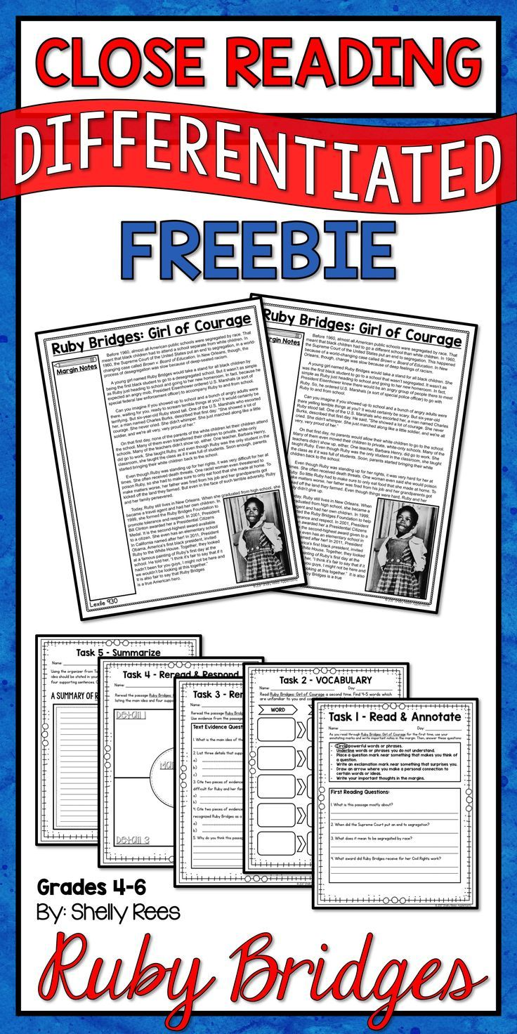 Ruby Bridges Close Reading Passage and Mini Unit FREE! This Ruby Bridges Close Reading Packet includes a differentiated reading passage and 5 days of Close Reading Activities. I LOVE this FREEBIE!   Ruby Bridges | Close Reading | Ruby Bridges Reading | Shelly Rees