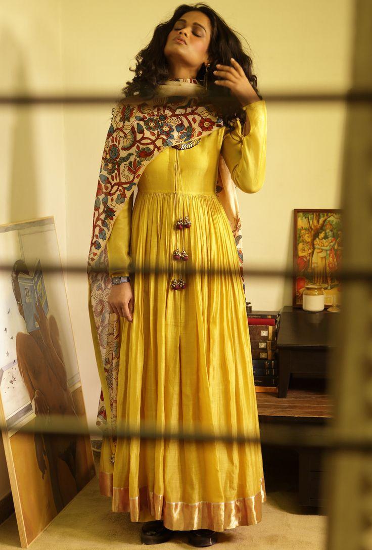 Ankle length yellow gherdar in handloom chanderi   Desi Royale