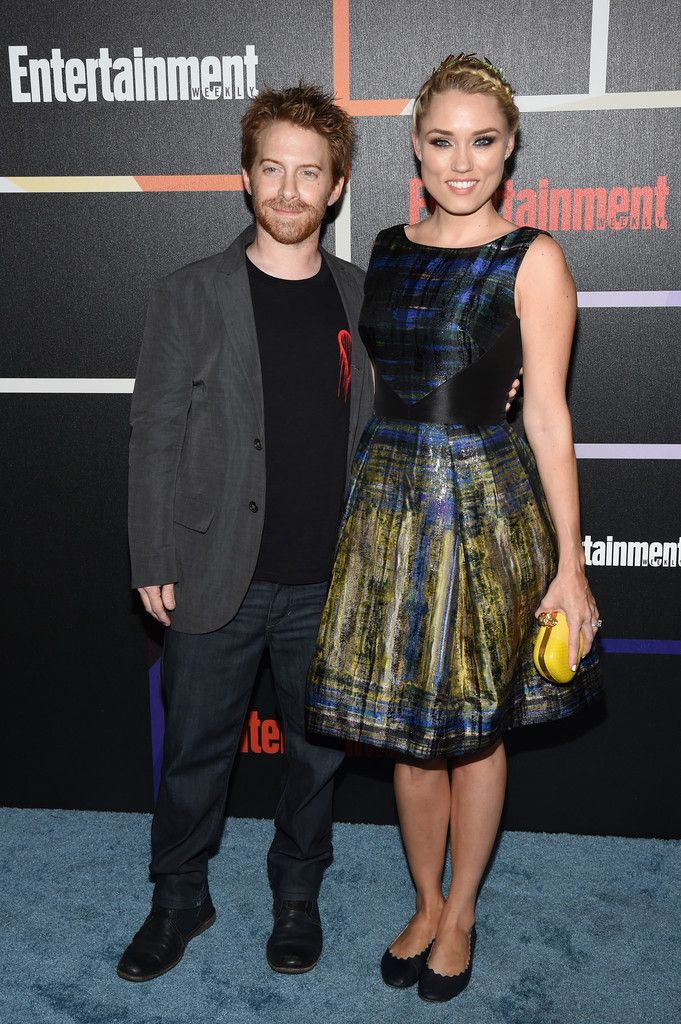 Clare Grant wearing a THEIA printed lacquered silk jacquard party dress