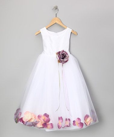 Take a look at this Lilac & White Flower Petal Silk Dress - Infant, Toddler & Girls by Kid's Dream on #zulily today!