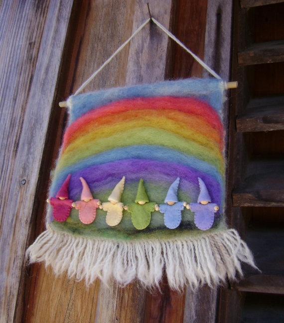 Rainbow Gnome Wool Wall Hanging  Waldorf inspired by softearthart, $45.00