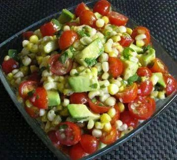 Grilled corn, avocado, cherry tomato, with a honey lime dressing