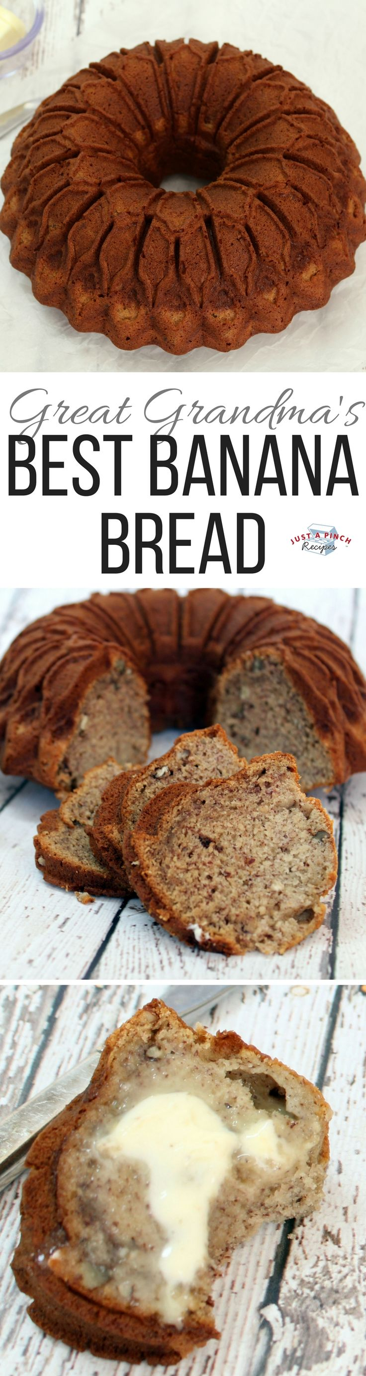This banana bread is easy, moist, delicious and full of banana flavor. I like the idea of using a bundt pan.