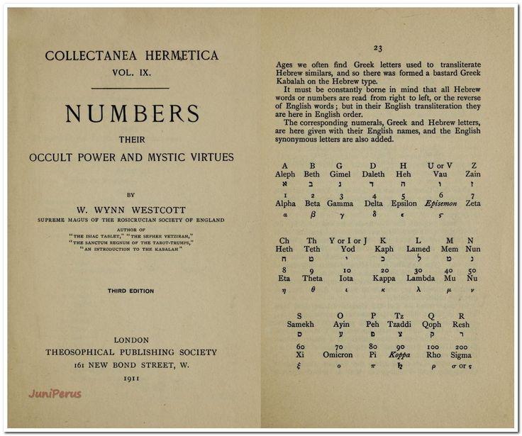 Numbers : their occult power and mystic virtues by Westcott, W. Wynn (William Wynn), 1848-1925 Published 1911 Publisher London : Theosophical Pub. Society