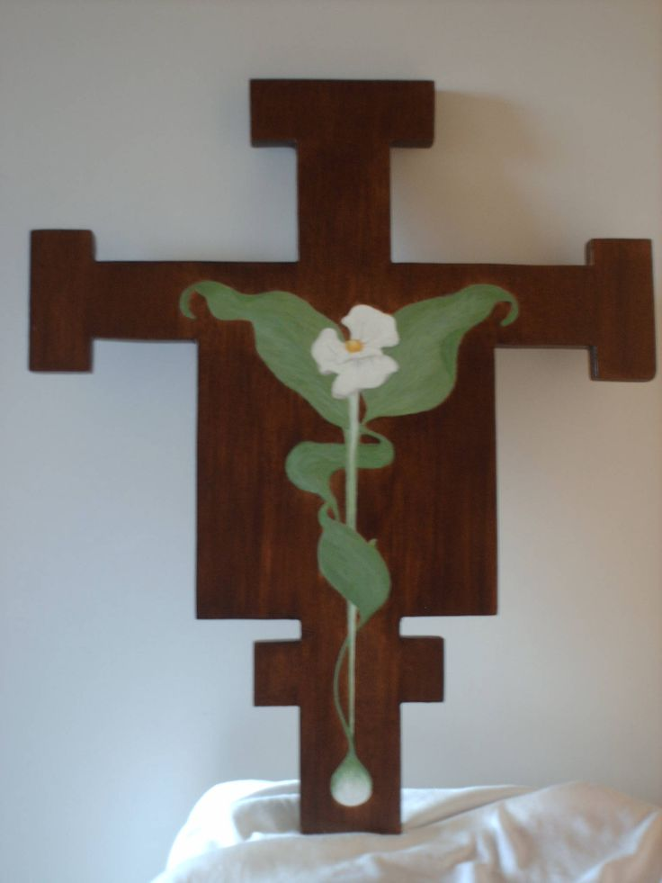 Cross painted with egg tempera and faux graining.