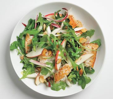 Tilapia Salad With Apples and Almonds...sooooo easy. Great, light dinner with plenty of leftovers for linch the next day! -KM