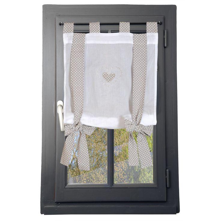 voilage vitrage 45 x 100 cm verone ruban lin d coration d 39 int rieur etc pinterest. Black Bedroom Furniture Sets. Home Design Ideas