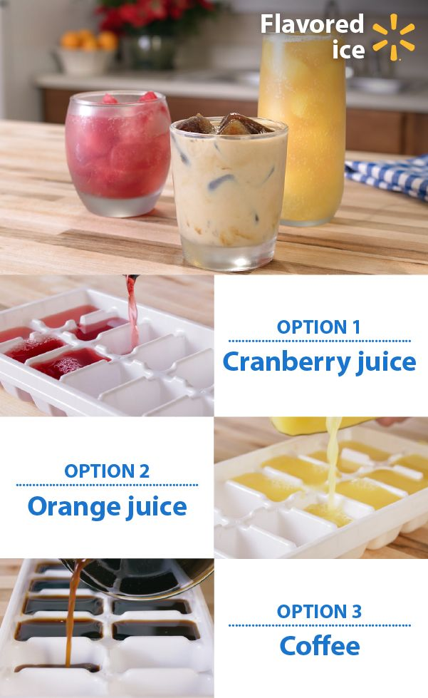 """Complement your favorite drinks with flavored ice! Add some cool to your drinks with this simple DIY hack to turn your mixers into ice cubes. Impress your guests for less with this low cost idea. Add orange or cranberry juice cubes to dress up fruity drinks, try coffee ice with your favorite """"crème"""" or freeze one ingredient of your punch. Simply pour your favorite juices and mixers into ice cube trays and freeze. Discover more holiday food hacks for easy, affordable entertaining."""