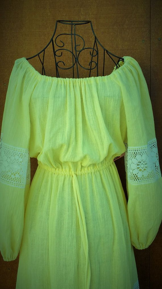 Sweet Yellow Peasant Dress by ParrotMoon on Etsy