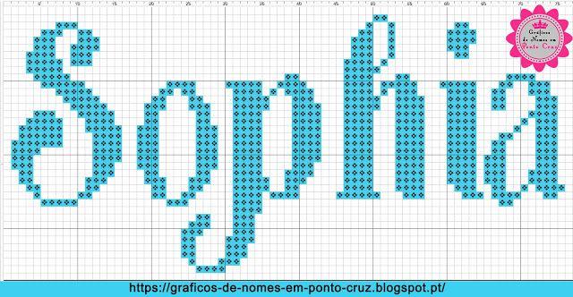 Gráficos de Nomes em Ponto Cruz: Nome Sophia em Ponto Cruz