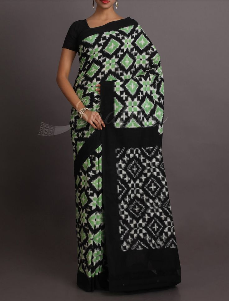 Aarushi Splendorous Blocks And Circles Pure #IkatCottonSaree