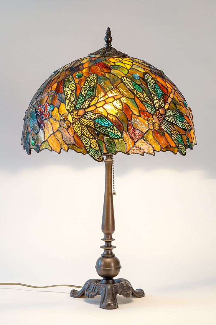 Stained Glass Lamp Dragonfly Gift Bronze Anniversary Gifts Art