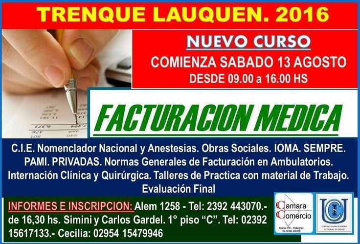 FACTURACION MEDICA  CURSO BÁSICO DE ARANCELAMIENTO DE PRESTACIONES MEDICO- ASISTENCIAL  ASPECTO TEORICO  1.-TERMINOLOGIA COMUM 2.-ORGANIZACIÓN DE LA ATENCION MEDICA 3.-FORMAS Y MECANISMO DE PAGO DE LOS SERVICIOS MEDICOS 4.- NOCIONES SOBRE LAS ÁREAS DE SALUD  Una jornada mensual de seis horas durante cinco meses. Inscripción y aranceles: Inscripción: $200.- Cuota mensual: $600.- (Incluye materiales en formato PDF). Certificación: $300.- (Se abona el día de entrega de certificados).