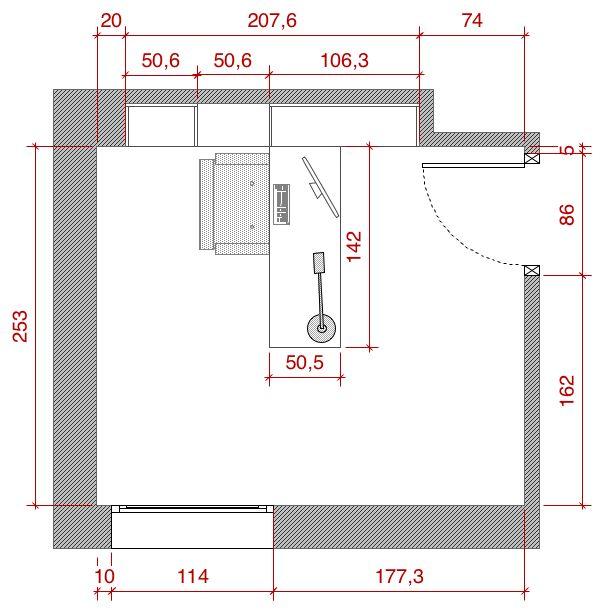 Plano de planta de distribuci n acotado del proyecto de un for Medidas de una casa xavier fonseca