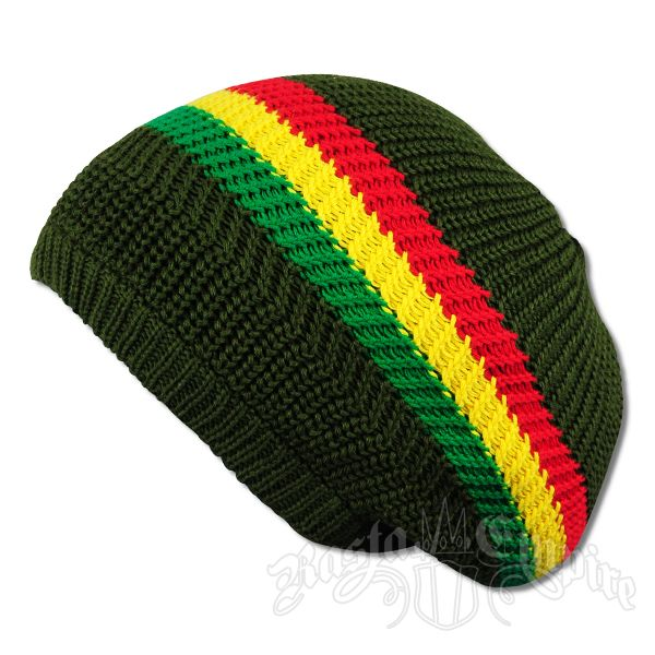 Rasta Stripes and Olive Tam Headwear