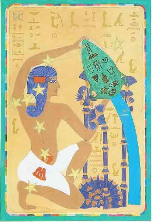 Aquarius – An Egyptian Zodiac (From 15e Dynasty revisited)  Datum : 19 januari – 18 februari  Design: Kantaro, mixed media on paper , 42 x 60 cm, 1992 Postkaart www.postersquare.com